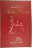 Vintage The Royal York Toronto Canada Room Service Hotel Restaurant Menu