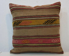 16'' x 16'' Kilim Pillow Cover,,Brown Pillows,Camel Wool Pillow Cover,Old pillow