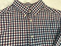 Roundtree & Yorke Mens Shirt Red White Blue Check Plaid Long Sleeve 2XT
