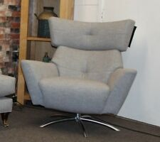LOUNGE CO. JACOB SWIVEL CHAIR IN GREY FABRIC