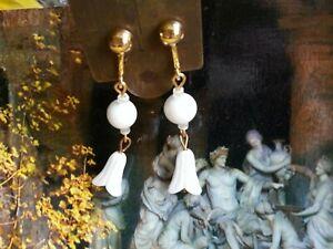 Vintage bridal white art deco EARRINGS ridged LILY flower milk glass ex-Haskell