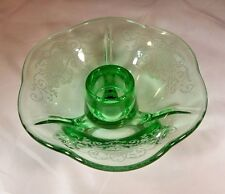 "FOSTORIA GLASS CO. RARE VERONA ETCH GREEN #2394 2"" TALL THREE-TOED CANDLESTICK!"