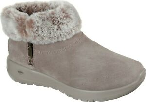 Skechers SK144003 On The Go Joy Savvy taupe ladies warm winter zip up ankle boot