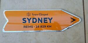 Unique Rare Veuve Clicquot Arrow Tin Lid Sydney Sign Champagne Man Cave Bar Art