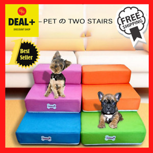 Pet 2 Stairs Steps Soft Portable Dog Cat Step Small Climb Ramp Ladder with Cover