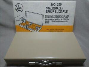 """Vintage Logan Deluxe Slide File No. 240 w/Original Box Holds 756 2""""x2"""" Slides"""