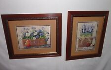 Home Interiors 2pc Set ''Country Fruits & Flowers'' Pictures Gorgeous 15.5x18.5