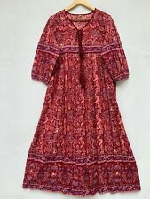 cotton silver lurex bohemian paisley print women's maxi dress