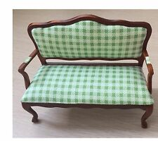 1/12 Dollhouse Furniture Double Armchair Sofa Made of Cloth& Wood JL034