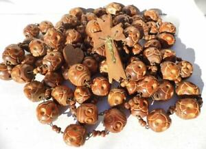 Huge Old 6 Feet Long Antique Carved Wood ROSARY BEADS Pilgrims Processional Belt