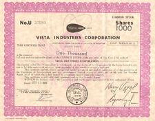 Vista Industries Corporation > 1978 share stock certificate