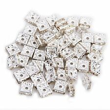 50 Silver Square Rhinestone Rondelle Spacer Beads 8MM HOT N3