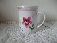 Ancien Mug Thé Tamis à Infuser. tasse avec couvercle en Porcelaine, OXALIS