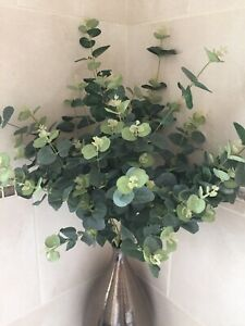 Artificial Green Eucalyptus Leaves X 3 Stems Very Natural Looking