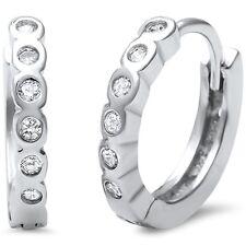 Cute! Bezel Set CZ .925 Sterling Silver Hoop Huggie Earrings