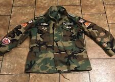 VINTAGE Army JACKET FISHING Patches Shimano Penn St Croix Sampo Hipster Sz Large
