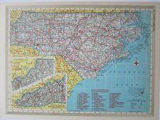 NC NY 1952 NORTH CAROLINA RAILROAD MAP High Point Thomasville. or NEW YORK 1950s