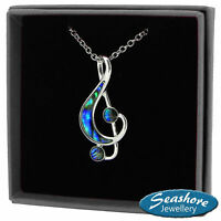 Music Note Necklace Abalone Shell Treble Clef Pendant Silver Fashion Jewellery