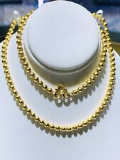 """24k Solid Yellow Gold Flexible Smooth Ball Necklace 18"""" Long. Thickness 3.54mm"""