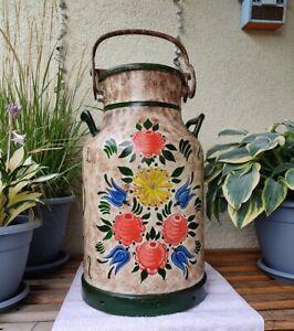 Milchkanne handbemalt-alt-ca. 68cm hoch mit schöner Patina 1977 bemalt