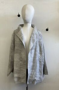 Eileen Fisher Ethereal Grey Cotton Linen Blend Relaxed Open Swing Jacket 2X