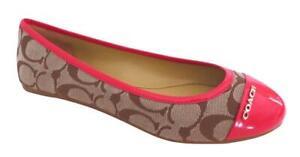 New NIB Coach Darena Signature Patent Leather Ballet Flats Khaki Magenta Pink