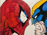 Marvel's Spiderman Wolverine head to head hand painted fan art Avengers signed