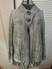 Peck & Peck Weekend Sweater 2 Button Open Front Cardigan Style Gray Sz M
