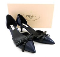 Prada Pumps 37,5 dunkel blau Lackleder Halbschuhe kitten heels top escarpins