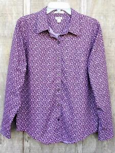 Women's L.L. Bean Purple Floral Print Wrinkle Free Long Sleeve Button-Up Shirt L