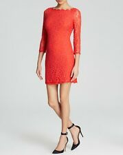 Diane von Furstenberg Hot Coral Lace Zarita Dress $348 NWT 12