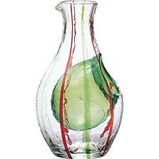 Japanese SAKE Saki Bottle Ice pocket Carafe Chilled Drinking Glass Green.