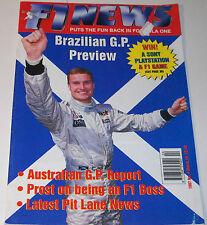 F1 News Magazine No 4 March 19 1997 Martin Whitaker Alain Prost Olivier Panis