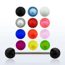 Tongue Piercing 16 Mm Steel Rod bar with uv Ball Intimate Nipple Nipple Piercing