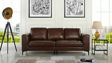 Mid Century Modern Leather Fabric 3 Seat Sofa, Couch 81.1