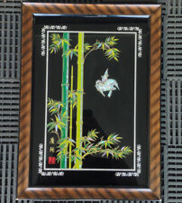 Reverse Glass Mother Of Pearl Inlay Framed Asian SIGNED Art Bamboo Birds