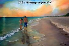 """""""Footstep on the Sand"""" Oil painting 18""""x 12"""" Signed by Artist. Reduce Price"""