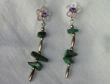 Sterling Silver Beads Malachite Dangle Earrings