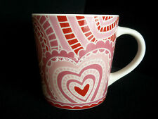 STARBUCKS COFFEE TEA 2005 PINK RED WHITE LACE VALENTINE HEART MUG CUP 16 OZ
