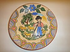 """10"""" Vintage Redware Plate pottery signed  Redondo"""
