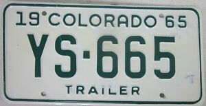 COLORADO 1965 licence/number plate US/United States/USA/American YS 665