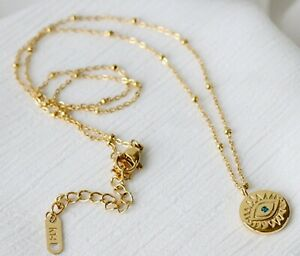 Women Gold Plated Titanium Stainless Steel CZ Evil Eye Gold Coin Chain Necklace
