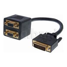 New DVI-I Male 24+5 to Dual VGA Female Splitter Adaptor HD TV PC Black