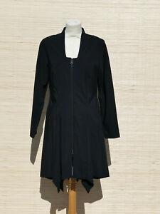 * WALTER KRINES * zipfeliges Kleid Mantelkleid mit Reißverschluss schwarz -Gr.38
