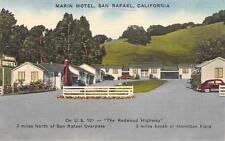MARIN MOTEL San Rafael, California Redwood Highway Roadside Postcard ca 1930s