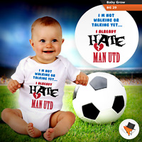 Baby Grows 0-3 3-6 Months I Hate Man Utd Funny Baby Grows Bodysuit Football