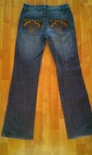 MESMERIZE Midrise Boot cut Women's Jeans Dark Wash leather inserts Size 6