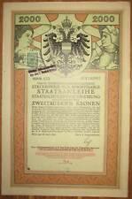 ÖSTERREICH AUSTRIA 4. Kriegsanleihe 2.000 Kronen 1916 Austrian War Loan