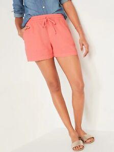 "Old Navy Women's High-Waisted Printed Linen-Blend Shorts-4"" inseam Size XL XXL"