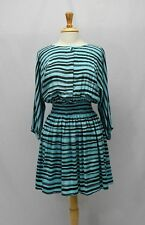 Kelly Wearstler Blue Black Striped Silk Dress Size S
